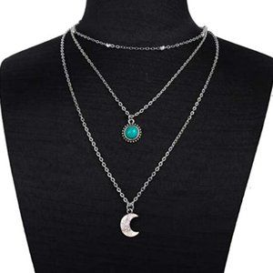 Jewelry - Three Layered Necklace with Moon Sun Pendant